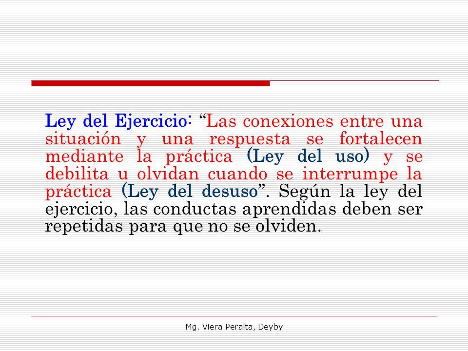 Mg. Viera Peralta, Deyby Ley del Ejercicio: Las conexiones entre una situación y una respuesta se fortalecen mediante la práctica (Ley del uso) y se d