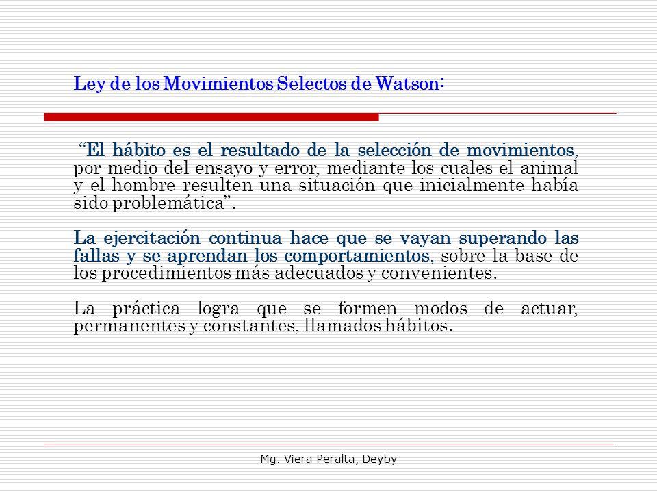 Mg. Viera Peralta, Deyby Ley de los Movimientos Selectos de Watson: El hábito es el resultado de la selección de movimientos, por medio del ensayo y e