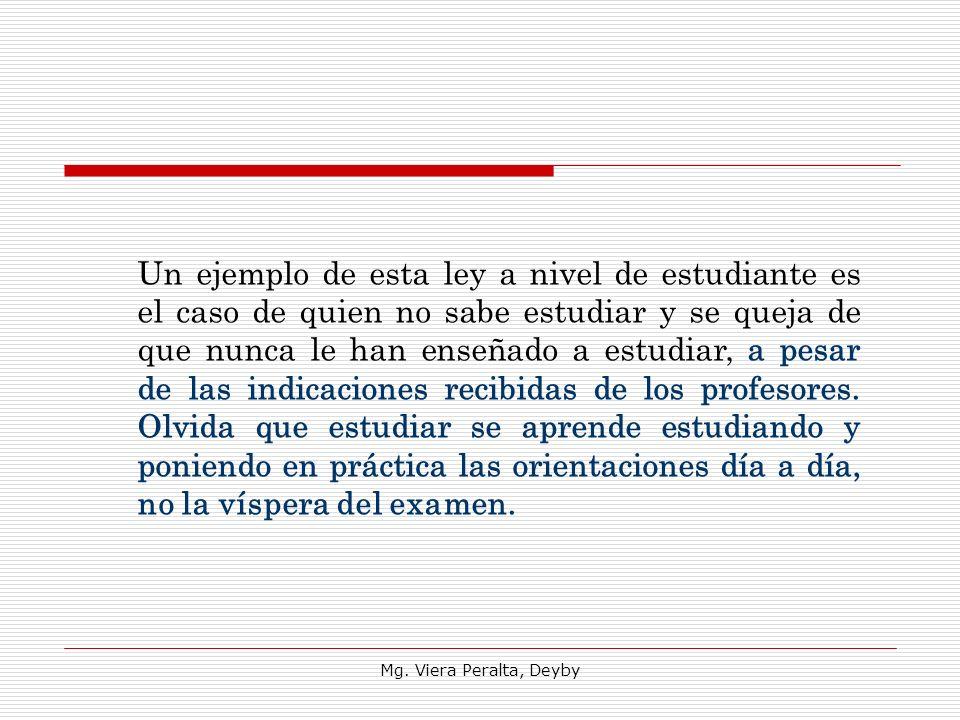 Mg. Viera Peralta, Deyby Un ejemplo de esta ley a nivel de estudiante es el caso de quien no sabe estudiar y se queja de que nunca le han enseñado a e