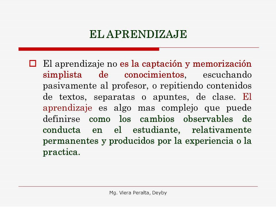 El aprendizaje no es la captación y memorización simplista de conocimientos, escuchando pasivamente al profesor, o repitiendo contenidos de textos, separatas o apuntes, de clase.