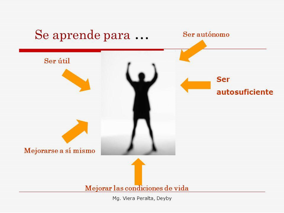 Se aprende para … Ser útil Mejorarse a sí mismo Ser autónomo Ser autosuficiente Mejorar las condiciones de vida Mg. Viera Peralta, Deyby