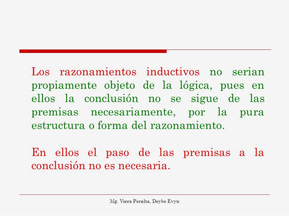 Los razonamientos inductivos no serian propiamente objeto de la lógica, pues en ellos la conclusión no se sigue de las premisas necesariamente, por la