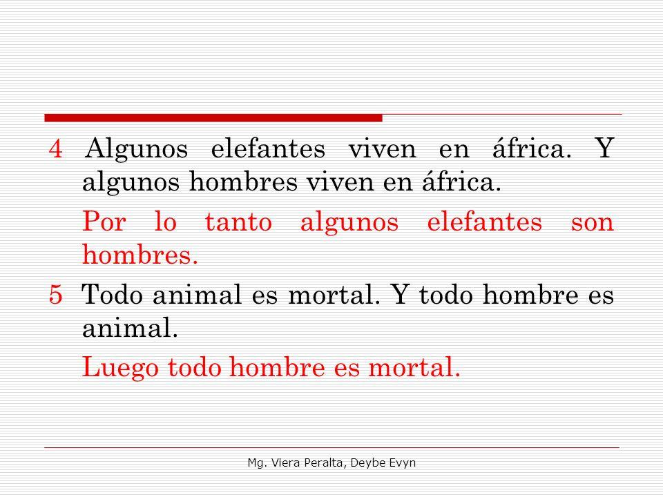 4 Algunos elefantes viven en áfrica. Y algunos hombres viven en áfrica. Por lo tanto algunos elefantes son hombres. 5 Todo animal es mortal. Y todo ho