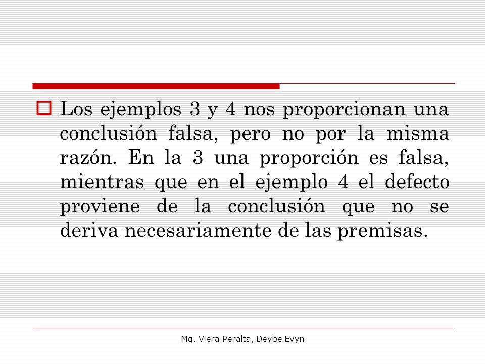 Los ejemplos 3 y 4 nos proporcionan una conclusión falsa, pero no por la misma razón. En la 3 una proporción es falsa, mientras que en el ejemplo 4 el