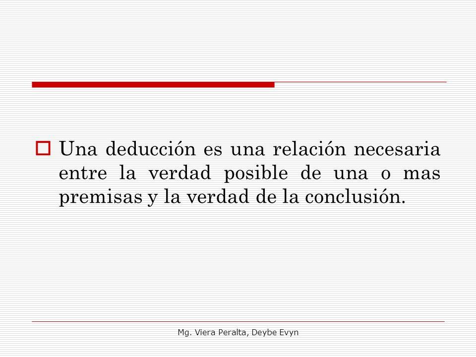 Una deducción es una relación necesaria entre la verdad posible de una o mas premisas y la verdad de la conclusión. Mg. Viera Peralta, Deybe Evyn