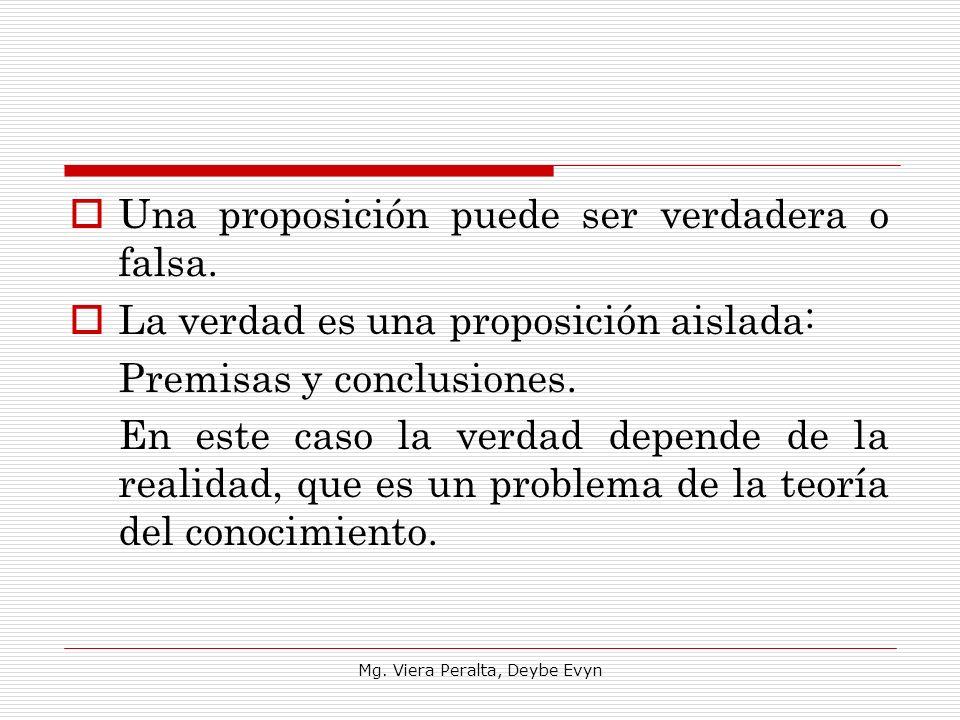 Una proposición puede ser verdadera o falsa. La verdad es una proposición aislada: Premisas y conclusiones. En este caso la verdad depende de la reali