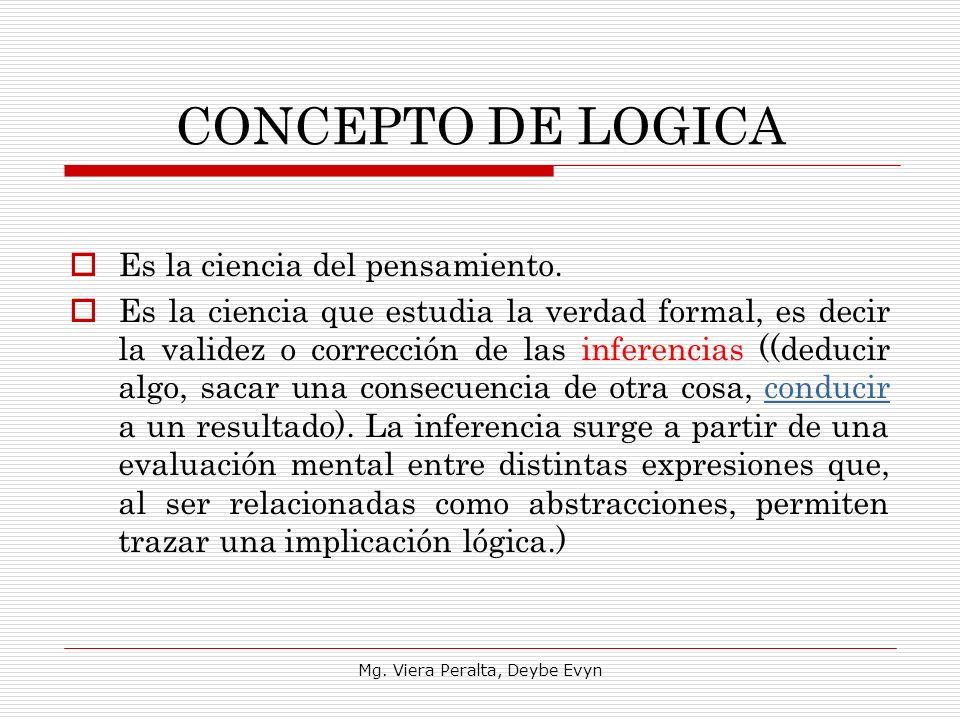 CONCEPTO DE LOGICA Es la ciencia del pensamiento. Es la ciencia que estudia la verdad formal, es decir la validez o corrección de las inferencias ((de