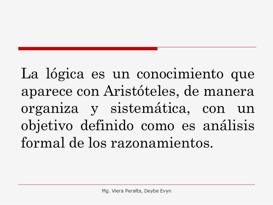 La lógica es un conocimiento que aparece con Aristóteles, de manera organiza y sistemática, con un objetivo definido como es análisis formal de los ra