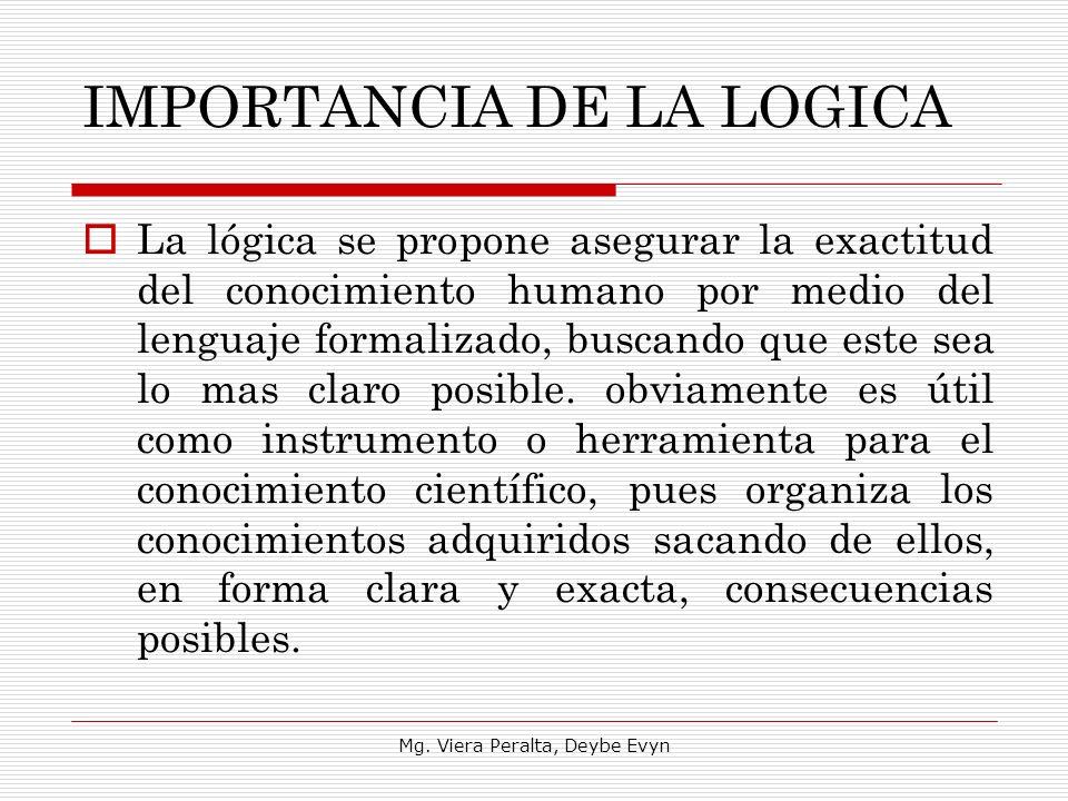 IMPORTANCIA DE LA LOGICA La lógica se propone asegurar la exactitud del conocimiento humano por medio del lenguaje formalizado, buscando que este sea