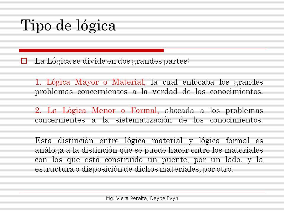 Tipo de lógica La Lógica se divide en dos grandes partes: 1. Lógica Mayor o Material, la cual enfocaba los grandes problemas concernientes a la verdad