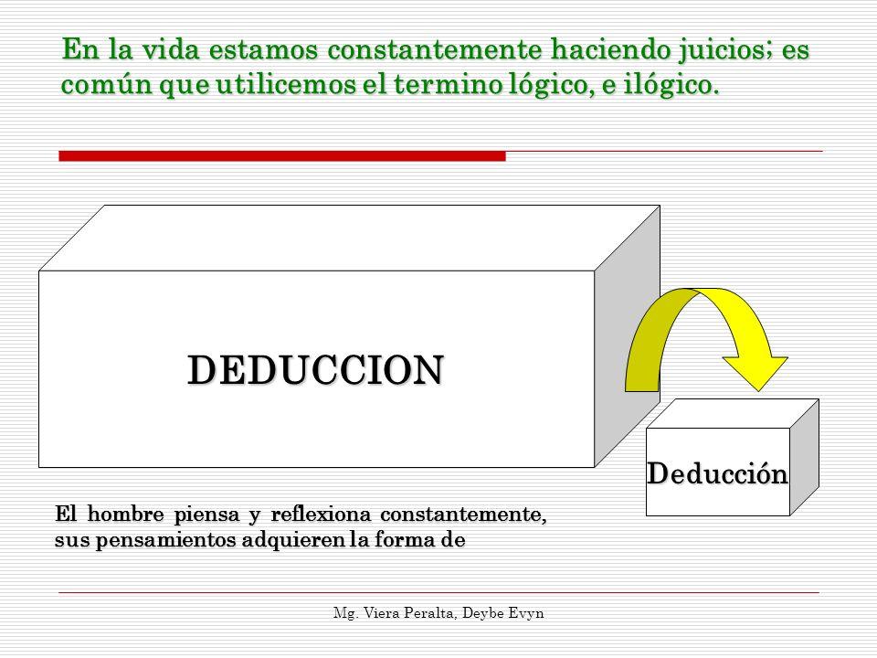 DEDUCCION Deducción En la vida estamos constantemente haciendo juicios; es común que utilicemos el termino lógico, e ilógico. Mg. Viera Peralta, Deybe