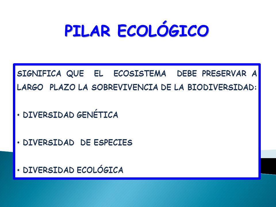 PILAR ECOLÓGICO SIGNIFICA QUE EL ECOSISTEMA DEBE PRESERVAR A LARGO PLAZO LA SOBREVIVENCIA DE LA BIODIVERSIDAD: DIVERSIDAD GENÉTICA DIVERSIDAD DE ESPEC