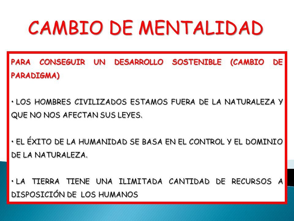 PARA CONSEGUIR UN DESARROLLO SOSTENIBLE (CAMBIO DE PARADIGMA) LOS HOMBRES CIVILIZADOS ESTAMOS FUERA DE LA NATURALEZA Y QUE NO NOS AFECTAN SUS LEYES. L