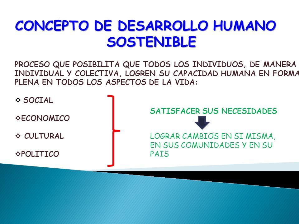 CONCEPTO DE DESARROLLO HUMANO SOSTENIBLE PROCESO QUE POSIBILITA QUE TODOS LOS INDIVIDUOS, DE MANERA INDIVIDUAL Y COLECTIVA, LOGREN SU CAPACIDAD HUMANA