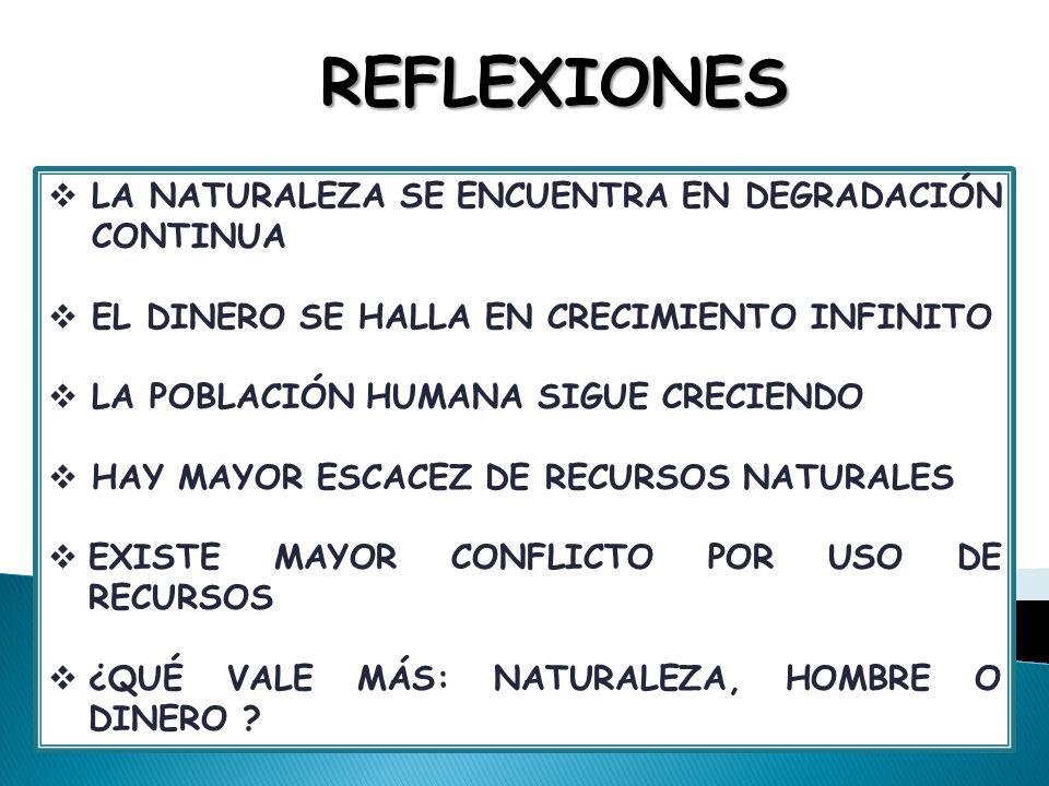 REFLEXIONES LA NATURALEZA SE ENCUENTRA EN DEGRADACIÓN CONTINUA EL DINERO SE HALLA EN CRECIMIENTO INFINITO LA POBLACIÓN HUMANA SIGUE CRECIENDO HAY MAYO