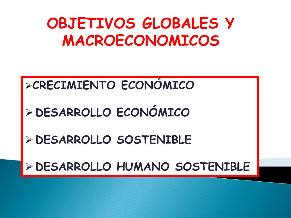 CRECIMIENTO ECONÓMICO DESARROLLO ECONÓMICO DESARROLLO SOSTENIBLE DESARROLLO HUMANO SOSTENIBLE OBJETIVOS GLOBALES Y MACROECONOMICOS