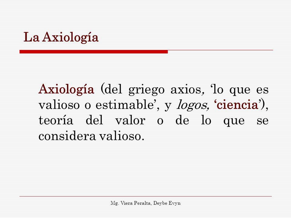 La Axiología Axiología (del griego axios, lo que es valioso o estimable, y logos, ciencia), teoría del valor o de lo que se considera valioso. Mg. Vie