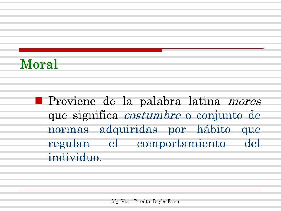 Moral Proviene de la palabra latina mores que significa costumbre o conjunto de normas adquiridas por hábito que regulan el comportamiento del individ