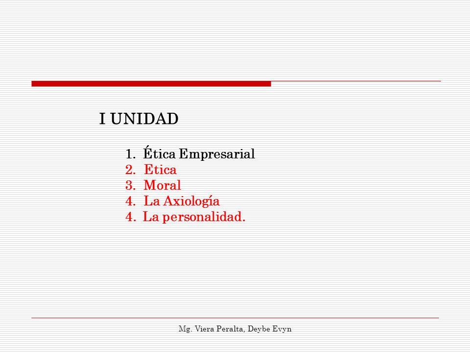 1.Ética Empresarial 2.Etica 3.Moral 4.La Axiología 4.La personalidad. I UNIDAD Mg. Viera Peralta, Deybe Evyn