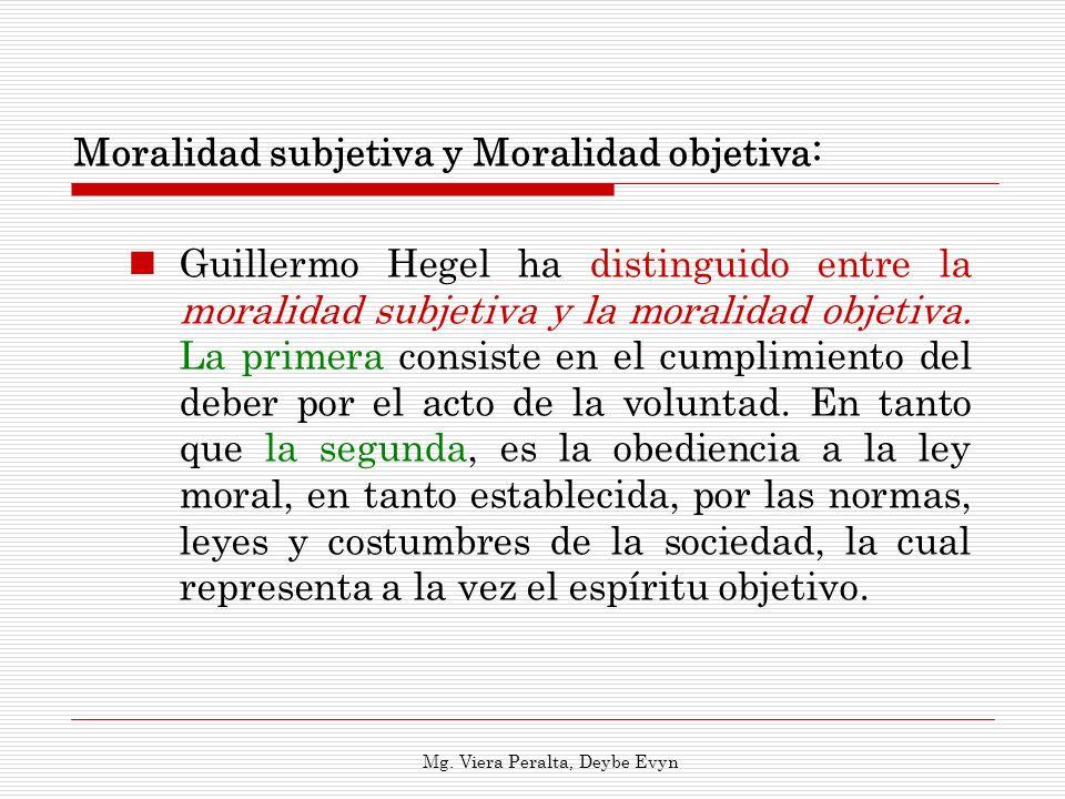 Moralidad subjetiva y Moralidad objetiva: Guillermo Hegel ha distinguido entre la moralidad subjetiva y la moralidad objetiva. La primera consiste en