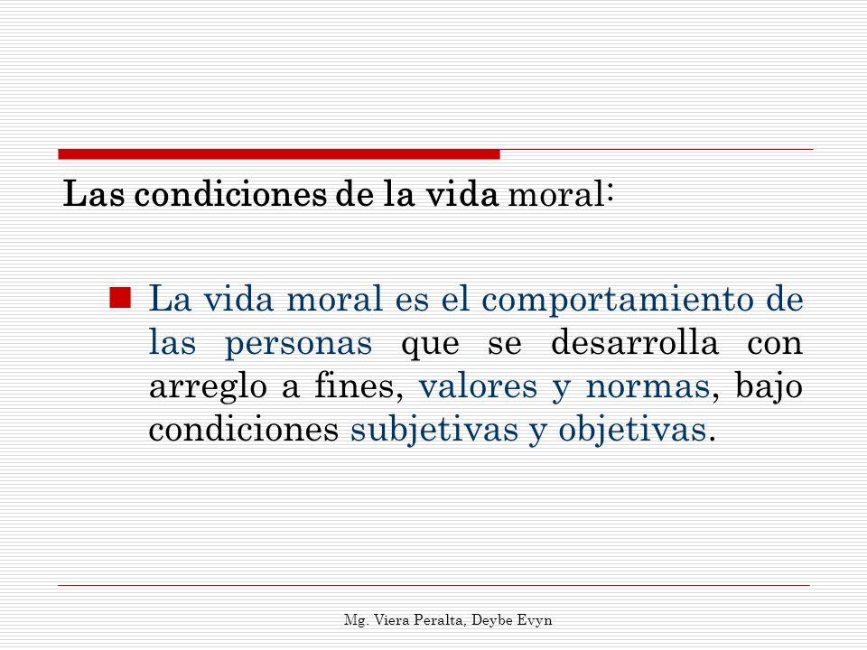 Las condiciones de la vida moral: La vida moral es el comportamiento de las personas que se desarrolla con arreglo a fines, valores y normas, bajo con