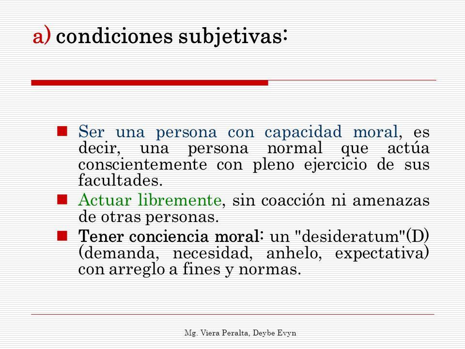 a)condiciones subjetivas: Ser una persona con capacidad moral, es decir, una persona normal que actúa conscientemente con pleno ejercicio de sus facul