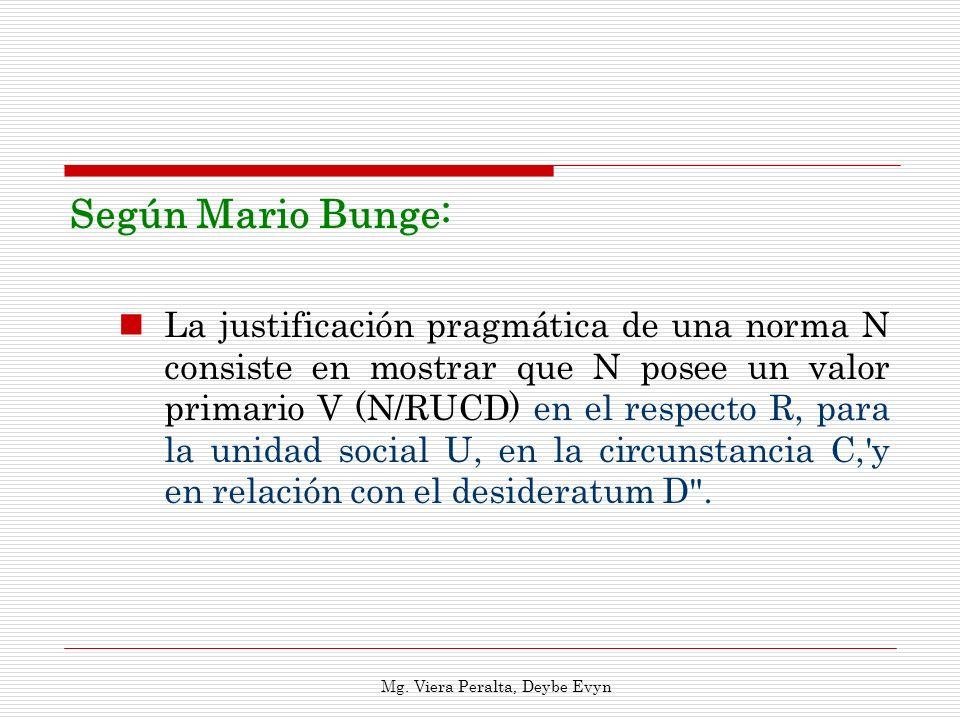 Según Mario Bunge: La justificación pragmática de una norma N consiste en mostrar que N posee un valor primario V (N/RUCD) en el respecto R, para la u