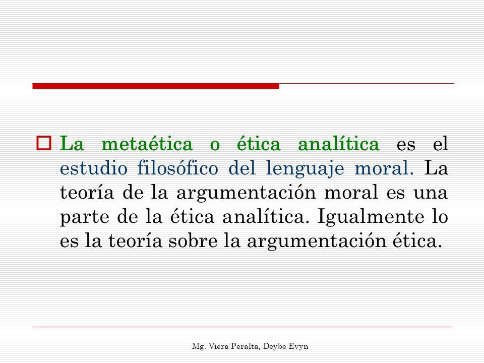La metaética o ética analítica es el estudio filosófico del lenguaje moral. La teoría de la argumentación moral es una parte de la ética analítica. Ig