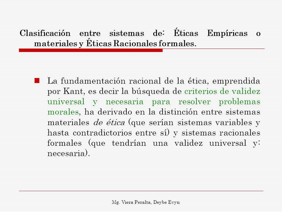 Clasificación entre sistemas de: Éticas Empíricas o materiales y Éticas Racionales formales. La fundamentación racional de la ética, emprendida por Ka