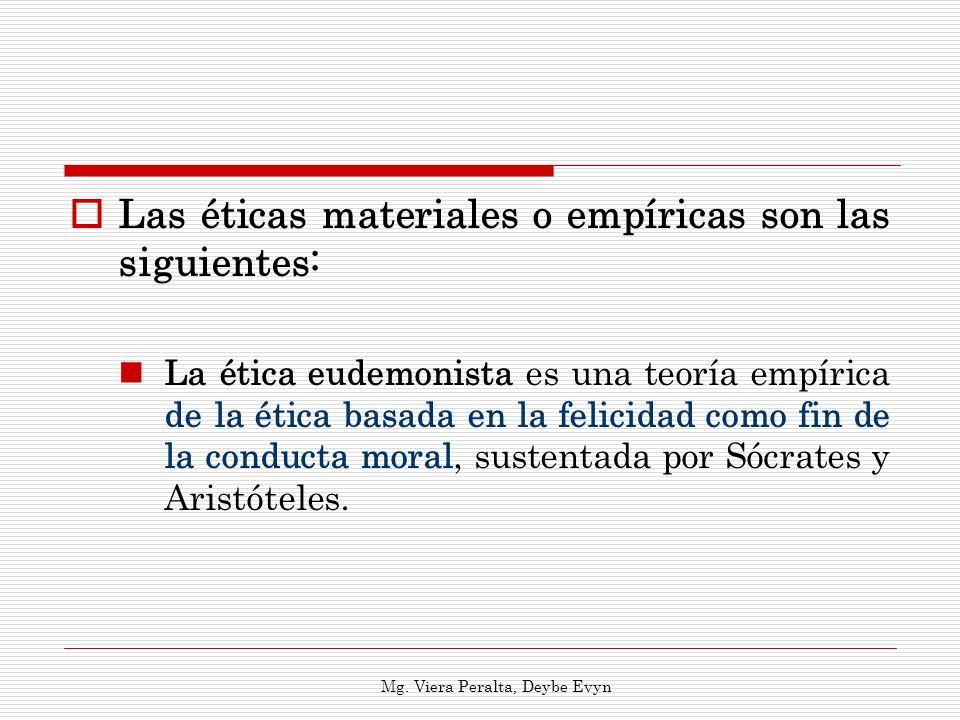 Las éticas materiales o empíricas son las siguientes: La ética eudemonista es una teoría empírica de la ética basada en la felicidad como fin de la co