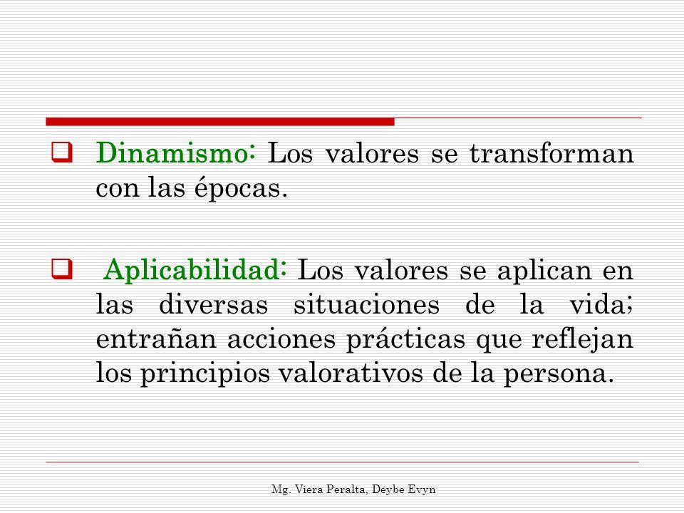 Dinamismo: Los valores se transforman con las épocas. Aplicabilidad: Los valores se aplican en las diversas situaciones de la vida; entrañan acciones