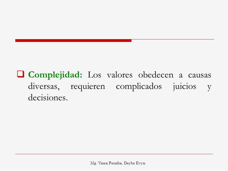 Complejidad: Los valores obedecen a causas diversas, requieren complicados juicios y decisiones. Mg. Viera Peralta, Deybe Evyn