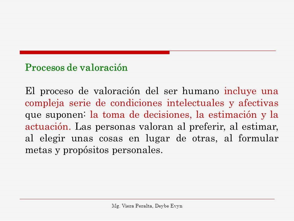 Procesos de valoración El proceso de valoración del ser humano incluye una compleja serie de condiciones intelectuales y afectivas que suponen: la tom