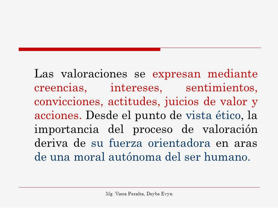 Las valoraciones se expresan mediante creencias, intereses, sentimientos, convicciones, actitudes, juicios de valor y acciones. Desde el punto de vist