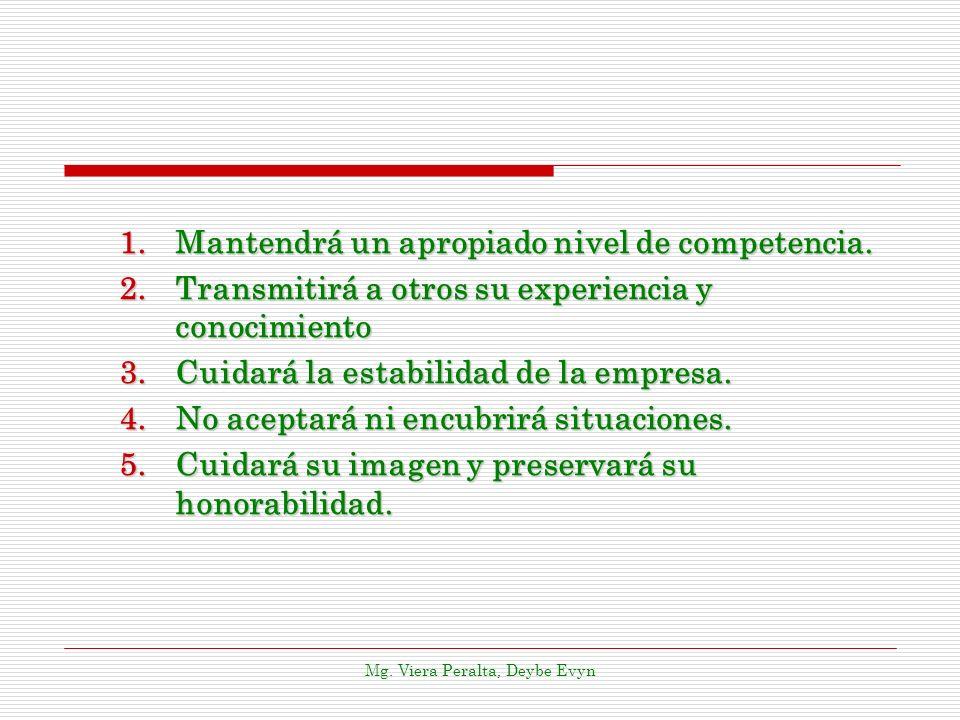 1.Mantendrá un apropiado nivel de competencia. 2.Transmitirá a otros su experiencia y conocimiento 3.Cuidará la estabilidad de la empresa. 4.No acepta