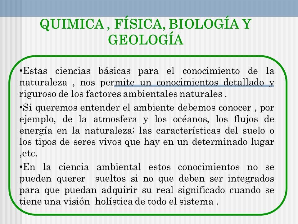 QUIMICA, FÍSICA, BIOLOGÍA Y GEOLOGÍA Estas ciencias básicas para el conocimiento de la naturaleza, nos permite un conocimientos detallado y riguroso d