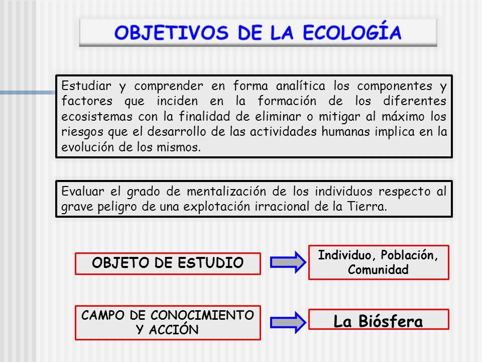 Estudiar y comprender en forma analítica los componentes y factores que inciden en la formación de los diferentes ecosistemas con la finalidad de elim