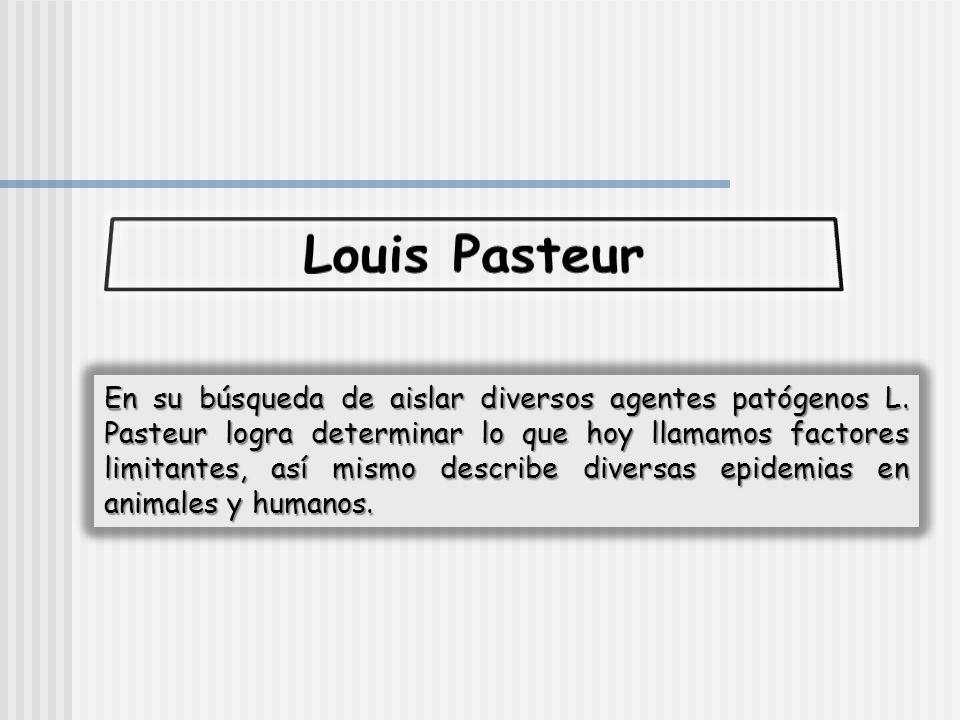 En su búsqueda de aislar diversos agentes patógenos L. Pasteur logra determinar lo que hoy llamamos factores limitantes, así mismo describe diversas e