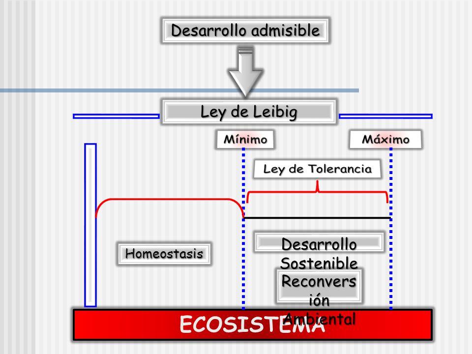 ECOSISTEMA Desarrollo admisible Ley de Leibig Homeostasis Desarrollo Sostenible Reconvers ión Ambiental