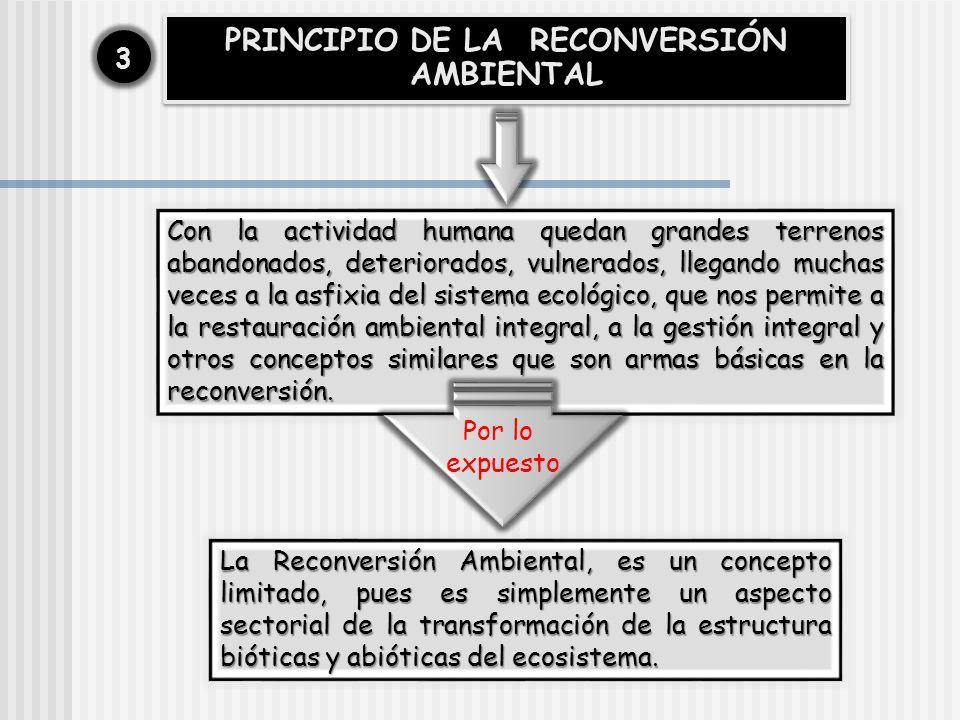PRINCIPIO DE LA RECONVERSIÓN AMBIENTAL 33 Con la actividad humana quedan grandes terrenos abandonados, deteriorados, vulnerados, llegando muchas veces