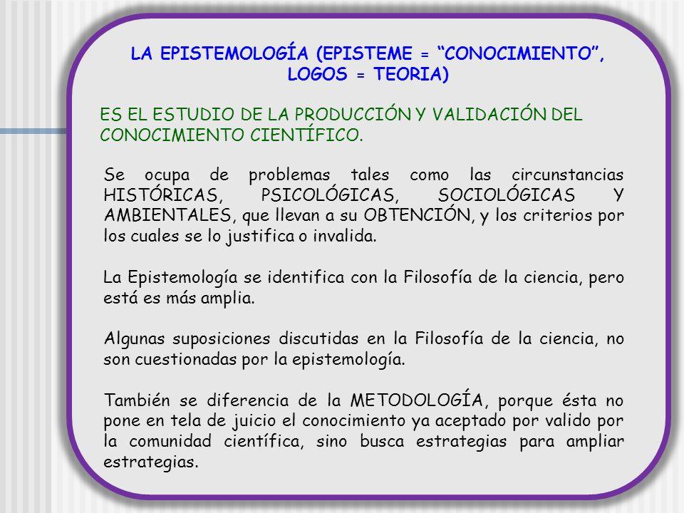 LA EPISTEMOLOGÍA (EPISTEME = CONOCIMIENTO, LOGOS = TEORIA) ES EL ESTUDIO DE LA PRODUCCIÓN Y VALIDACIÓN DEL CONOCIMIENTO CIENTÍFICO. Se ocupa de proble
