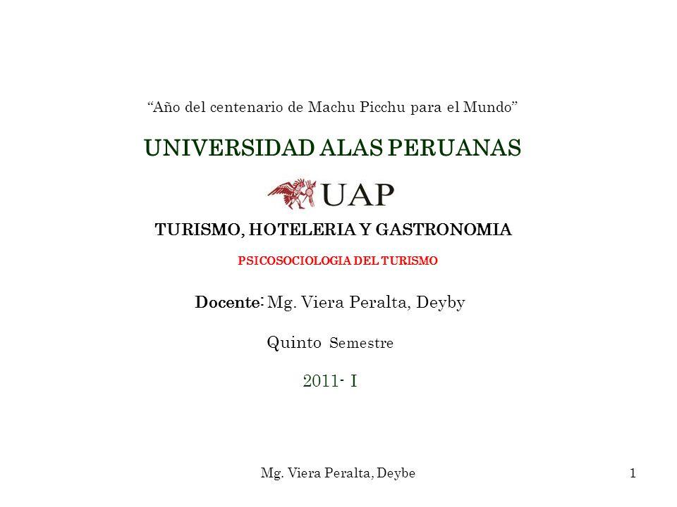 Año del centenario de Machu Picchu para el Mundo UNIVERSIDAD ALAS PERUANAS TURISMO, HOTELERIA Y GASTRONOMIA PSICOSOCIOLOGIA DEL TURISMO Docente: Mg. V