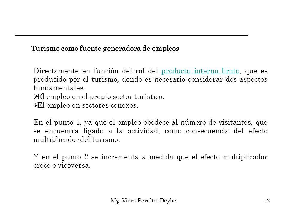 Mg. Viera Peralta, Deybe12 Directamente en función del rol del producto interno bruto, que es producido por el turismo, donde es necesario considerar
