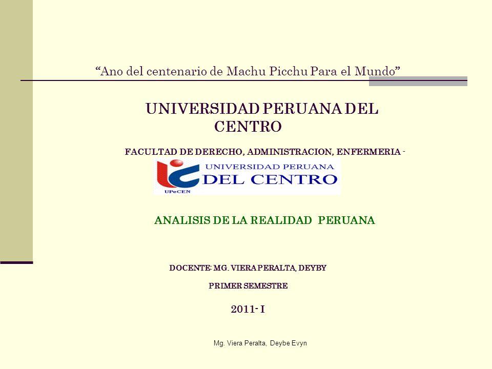 Ano del centenario de Machu Picchu Para el Mundo UNIVERSIDAD PERUANA DEL CENTRO FACULTAD DE DERECHO, ADMINISTRACION, ENFERMERIA - OBSTETRICIA ANALISIS