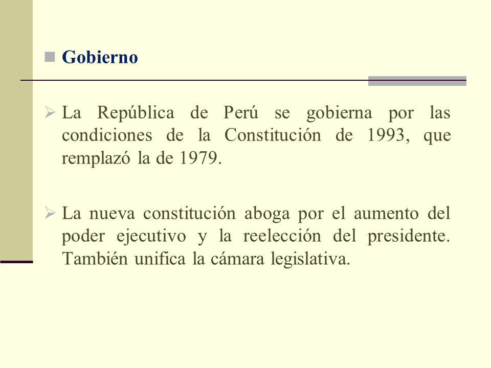Gobierno La República de Perú se gobierna por las condiciones de la Constitución de 1993, que remplazó la de 1979. La nueva constitución aboga por el