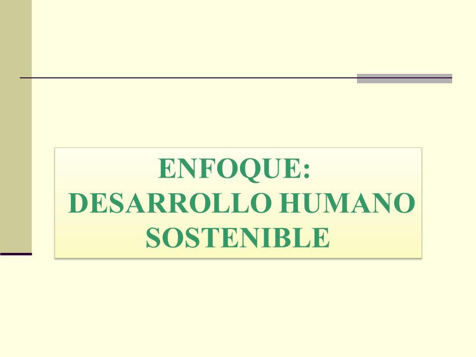 ENFOQUE: DESARROLLO HUMANO SOSTENIBLE ENFOQUE: DESARROLLO HUMANO SOSTENIBLE