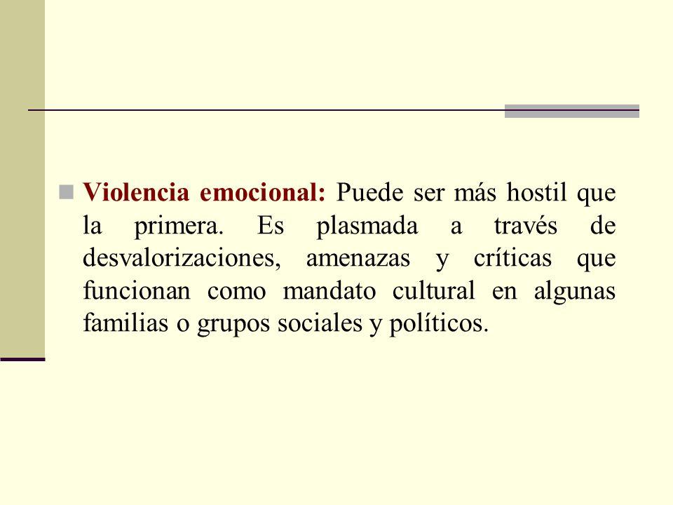 Violencia emocional: Puede ser más hostil que la primera. Es plasmada a través de desvalorizaciones, amenazas y críticas que funcionan como mandato cu