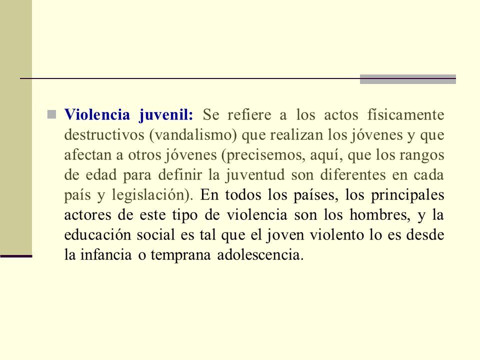 Violencia juvenil: Se refiere a los actos físicamente destructivos (vandalismo) que realizan los jóvenes y que afectan a otros jóvenes (precisemos, aq