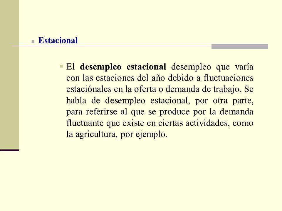 Estacional El desempleo estacional desempleo que varía con las estaciones del año debido a fluctuaciones estaciónales en la oferta o demanda de trabaj