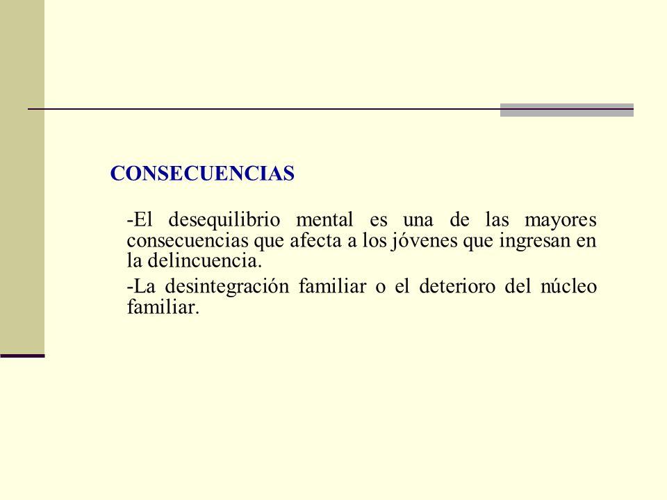 CONSECUENCIAS -El desequilibrio mental es una de las mayores consecuencias que afecta a los jóvenes que ingresan en la delincuencia. -La desintegració